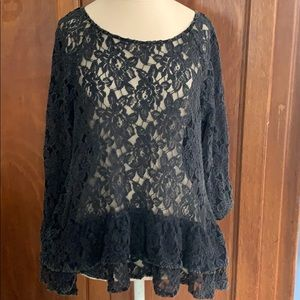 ANAMA Black lace ruffle peplum top